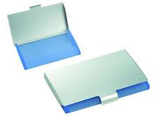PORTABIGLIETTI da VISITA in alluminio e crilex azzurro con INCISIONE Logo o Nome