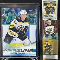 Karson Kuhlman 4 Card Rookie Lot Young Guns Boston Bruins RC Synergy OPC Marquee