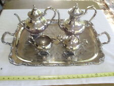 Silverplate Wm A Rogers Coffee & Tea Set 5 Pieces With Heavy Tray 16 Lbs Total