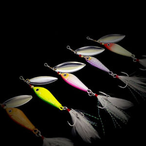 10PCS Fishing Spoon Jigging Lure Bass Spinner Bait Bass Trout Slow Jig 7-20g