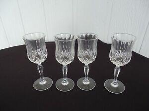 4 crystal cristal d'arques longchamp sherry liqueur port  glasses
