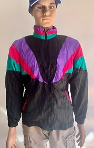 Vintage 90s Sports Accent Purple Black Casual Mens Shell Jacket Zip Up Large
