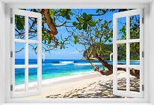 3D WANDBILD FOTOTAPETE FENSTERBLICK Meer Strand Selbstklebende PVC / VLIES - p-3