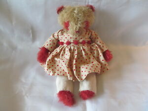 OOAK Artist Teddy Bear from Prim's by Kim, Ten Inches, Beige and Red Mohair