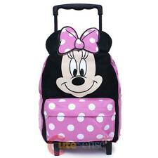 "Disney Minnie Mouse Roller Backpack 12"" Small Rolling Bag -3D Bow"