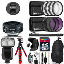 Canon EF-S 24mm f/2.8 STM Lens + Professional Flash & More - 32GB Accessory Kit