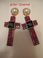 BETSEY JOHNSON Two-Tone Pink Pavé, Imitation Pearl Cross Clip-On Dangle earrings