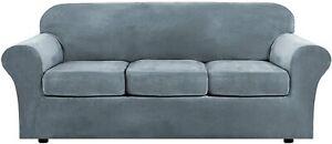 H. Versailtex Stretch Sofa Couch Slipcover Furniture Cover Stone Blue Velvet