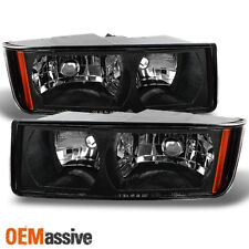 2002-2006 Chevy Avalanche *Body Cladding Model* Black Headlights Replacement Set