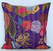 """16"""" Purple Cotton Cushion Cover Indian Kantha Embroidery Throw Pillow Decor"""