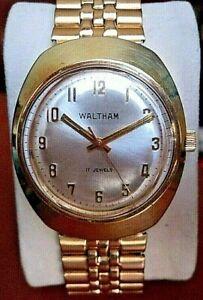 1970s WALTHAM 17J Swiss Made Mens Gold Plated  Bracelet Watch