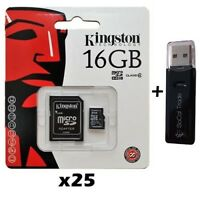 25 PACK - Lot of 25 Kingston 16GB MicroSD HC Memory Card SDC4/16GB + SD Adapter