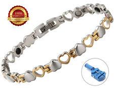 Ladies Stainless Steel Magnetic Bracelet Heart Bangle Arthritis Relief Germanium