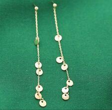 gold disc threader earrings gold stud long dainty chain earring hot ear threader