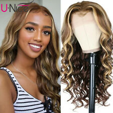 UNice Brazilian Highlight Ombre Blonde Wand Curl Lace Front Human Hair Wigs Full
