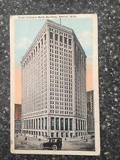 First National Bank Building, Detroit Michigan ~ Vintage Postcard 1924