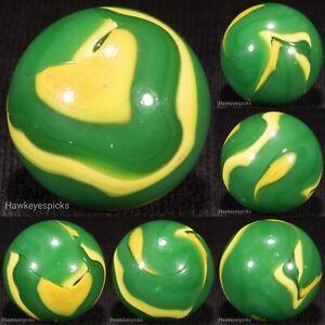 STELLAR Vacor Yellow+Green SHOOTER Swirl Marble 15/16+ Mint- hawkeyespicks
