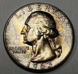 1963 25c Washington Silver Quarter - BU Original Textured Rainbow Toning - Z2523