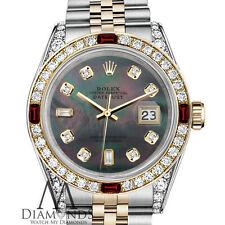 Ladies Rolex Steel & Gold 26mm Datejust Watch Black MOP 8+2 Dial Ruby Diamond
