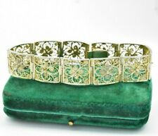 Vintage .800 Sterling Silver Bracelet Wide filigree flower Art Deco gift #W735