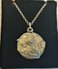 Rare Art Nouveau 1902 Robert Friederich sterling silver sliding locket & chain