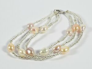 Beautiful Cultured Pearl Triple Strand Bracelet with Sterling Silver Clasp