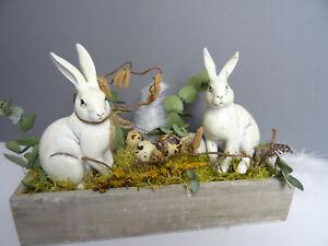 Ostersdeko Ostergesteck Frühlingsgeflüster mit zwei süßen Hasen Vintage Shabby❤️