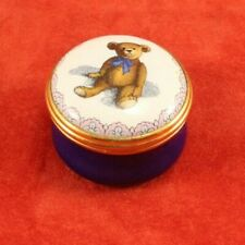 Halcyon Days - Original 1903 Teddy Bear - Enamel Box - Simthsonian - Trinket Box