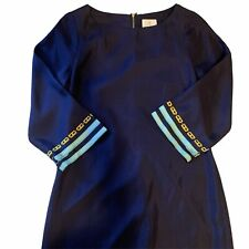 Julie Brown 100% Silk Navy Shift Dress Size 4