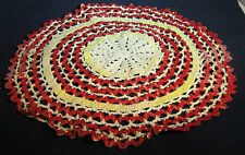 """Vintage Ribbon Doily Wavey Red, Yellow and White 10"""""""