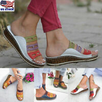Womens Wedge Heel Slip On Mules Shoes Summer Hollow Slipper Slipper Sandals Size