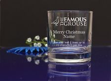 Personalised THE FAMOUS GROUSE MERRY CHRISTMAS Engraved Whisky/Tumbler Glass79