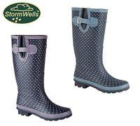 LADIES NAVY WIDE LEG Welly Boots Purple Blue Spot Wellingtons Size 3 4 5 6 7 8 9