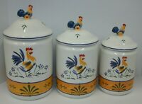 Avon Provencal Collection Rooster Country Kitchen Canister Set EUC