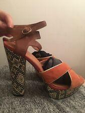 "Fab RIVER ISLAND Orange Brown Aztec Suede Block Heels High 5.5"" UK 8 Ankle Strap"
