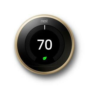 Google Nest Learning Thermostat 3rd Gen Smart Thermostat (Brass) - T3032US