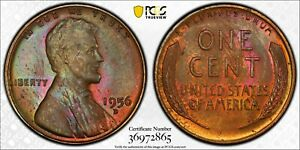 1956-D LINCOLN WHEAT CENT PENNY PCGS MS64BN AMAZING COLOR TONED GEM BEAUTY