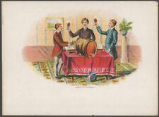 Three Men Toast Round a Cask Vintage Chromolithograph Cigar Box Label