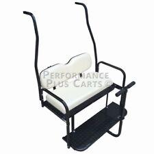 Club Car DS Golf Cart Flip Folding Rear Back Seat Kit with Diamond Plate - White