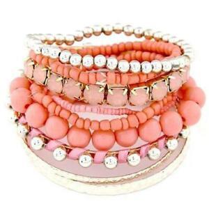 Bead Rhinestone Stretch Bangle Bracelet Set Several Colors