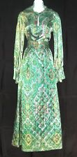 1960'S-70'S VINTAGE FABULOUS GREEN PAISLEY 2 PC OUTFIT MAXI SKIRT CHIC COCKTAILS