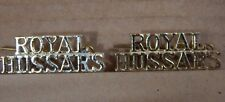 2 x Royal Hussars  Shoulder title badges anodized Staybrite 1980's
