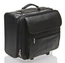 BNWT ITALIAN LEATHER LAPTOP TROLLEY CASE WHEELED BAG NR
