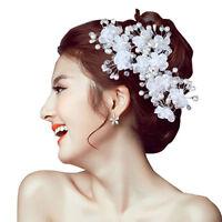 Eg _ Blume Kunstperle Hochzeit Haarnadel Kopfbedeckung Weiß Haarspange Braut