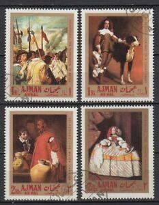 Ajman 1968 used Mi.218/21 A Gemälde Paintings Rodriguez de Silva Spanien Spain