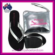 Foldable Flats Flip Flops Shoes Expandable Bag Silver Large Shoes 6 7 8 9 10 11 Small