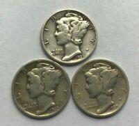 Mercury Dimes - 1939 P,D,S - Lot of 3 - 90% Silver Mercury Dimes