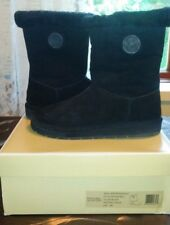 MICHAEL KORS MK Winter Shearling Black Suede Mid Boots Womens Size 8M