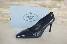 Prada Gr 38,5 Pumps High Heels Lack Schuhe shoes 1I699F blau NEU UVP 395 €