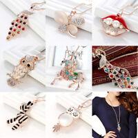 Fashion Women Rhinestone Owl Peacock Long Pendant Necklace Sweater Chain Jewelry